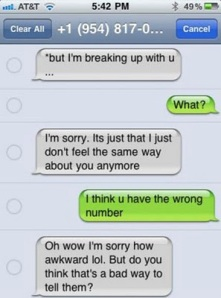 breaking up with you over text message bad idea dr heckle funny text messages
